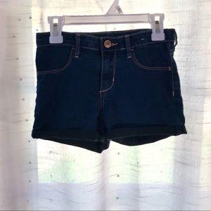 dark blue denim shorts